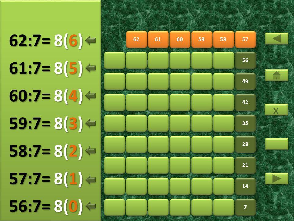62:7= 8(6) 61:7= 8(5) 60:7= 8(4) 59:7= 8(3) 58:7= 8(2) 57:7= 8(1)