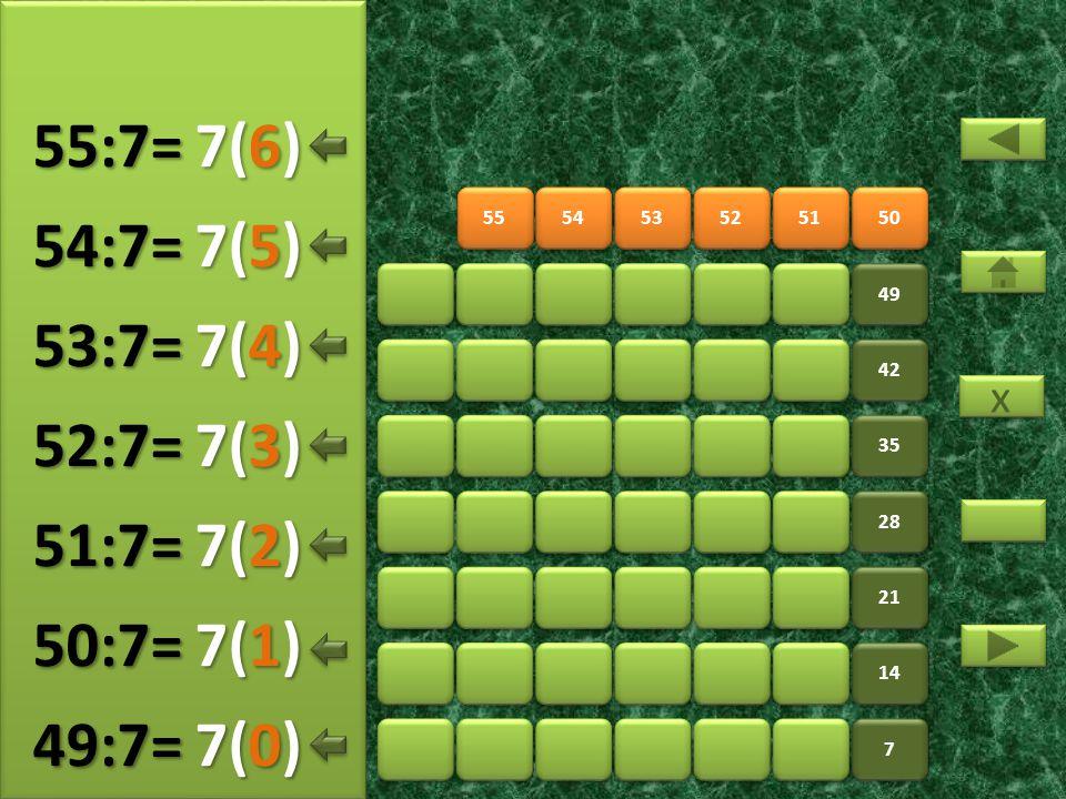 55:7= 7(6) 54:7= 7(5) 53:7= 7(4) 52:7= 7(3) 51:7= 7(2) 50:7= 7(1)