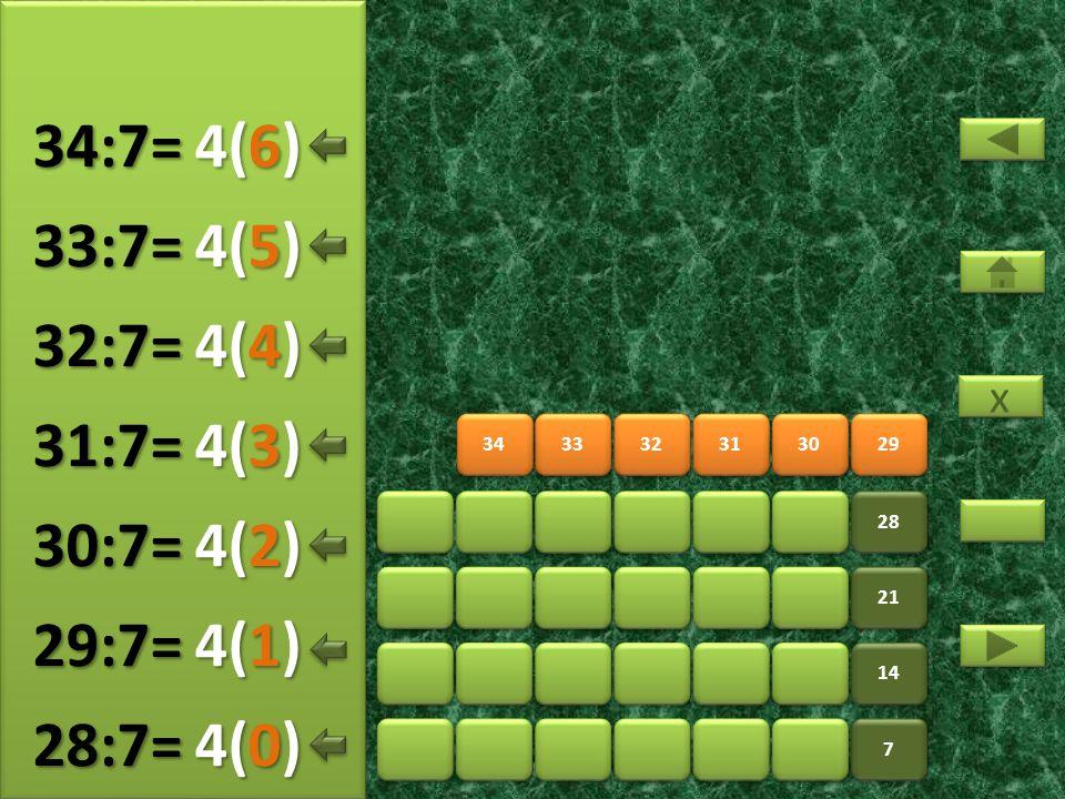 34:7= 4(6) 33:7= 4(5) 32:7= 4(4) 31:7= 4(3) 30:7= 4(2) 29:7= 4(1)