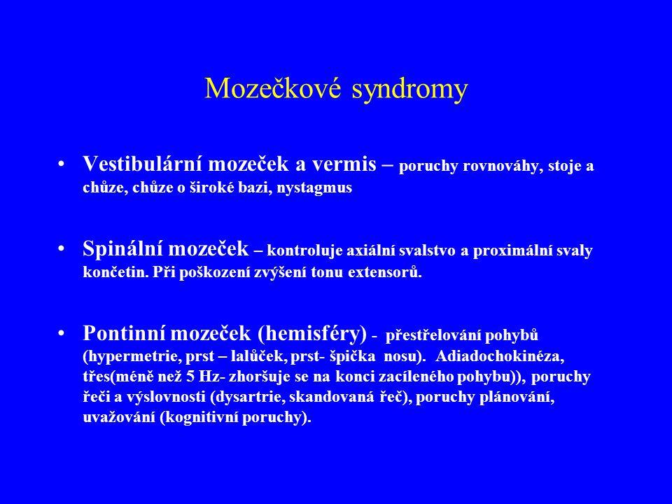 Mozečkové syndromy Vestibulární mozeček a vermis – poruchy rovnováhy, stoje a chůze, chůze o široké bazi, nystagmus.