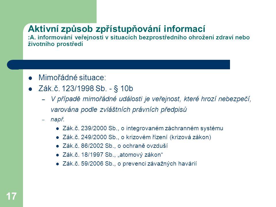 Aktivní způsob zpřístupňování informací :A