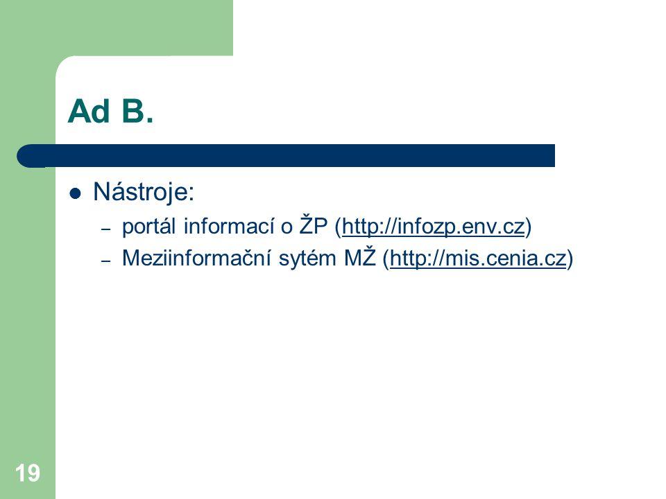 Ad B. Nástroje: portál informací o ŽP (http://infozp.env.cz)