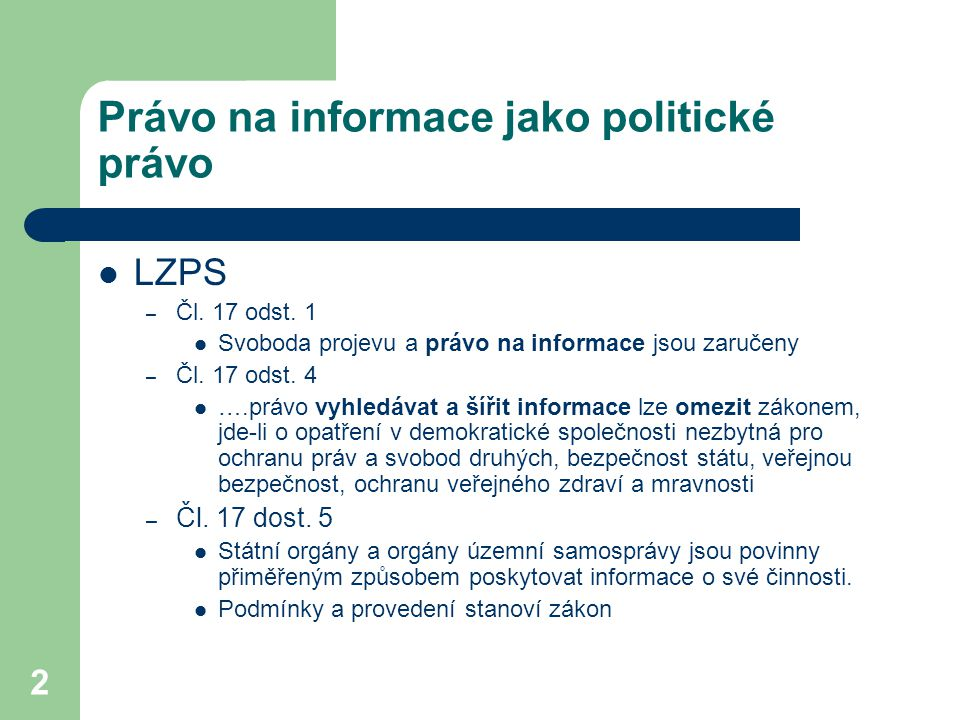 Právo na informace jako politické právo