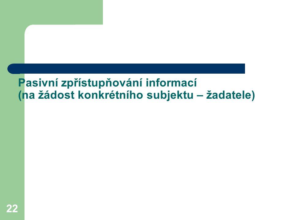 Pasivní zpřístupňování informací (na žádost konkrétního subjektu – žadatele)