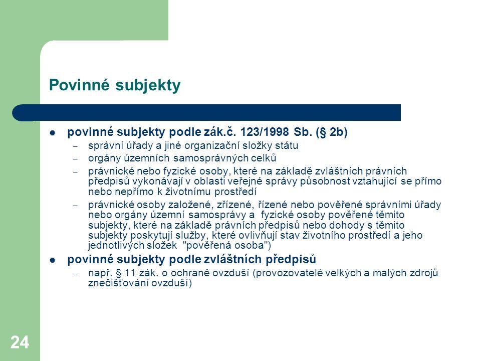 Povinné subjekty povinné subjekty podle zák.č. 123/1998 Sb. (§ 2b)