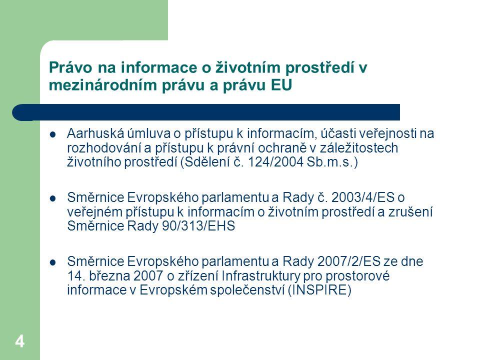 Právo na informace o životním prostředí v mezinárodním právu a právu EU