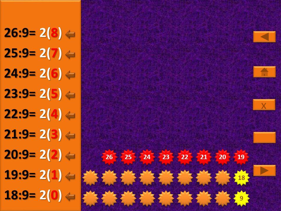 26:9= 2(8) 25:9= 2(7) 24:9= 2(6) 23:9= 2(5) 22:9= 2(4) 21:9= 2(3)