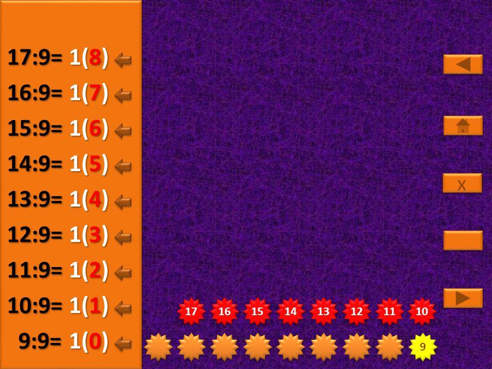 17:9= 1(8) 16:9= 1(7) 15:9= 1(6) 14:9= 1(5) 13:9= 1(4) 12:9= 1(3)
