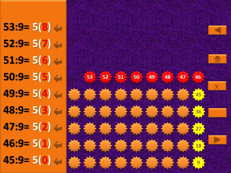 53:9= 5(8) 52:9= 5(7) 51:9= 5(6) 50:9= 5(5) 49:9= 5(4) 48:9= 5(3)