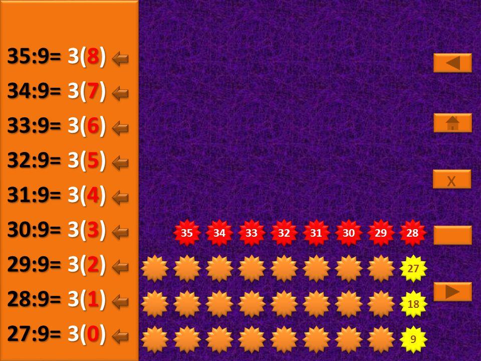 35:9= 3(8) 34:9= 3(7) 33:9= 3(6) 32:9= 3(5) 31:9= 3(4) 30:9= 3(3)