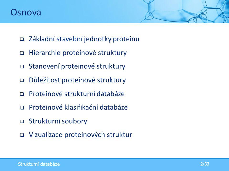 Osnova Základní stavební jednotky proteinů