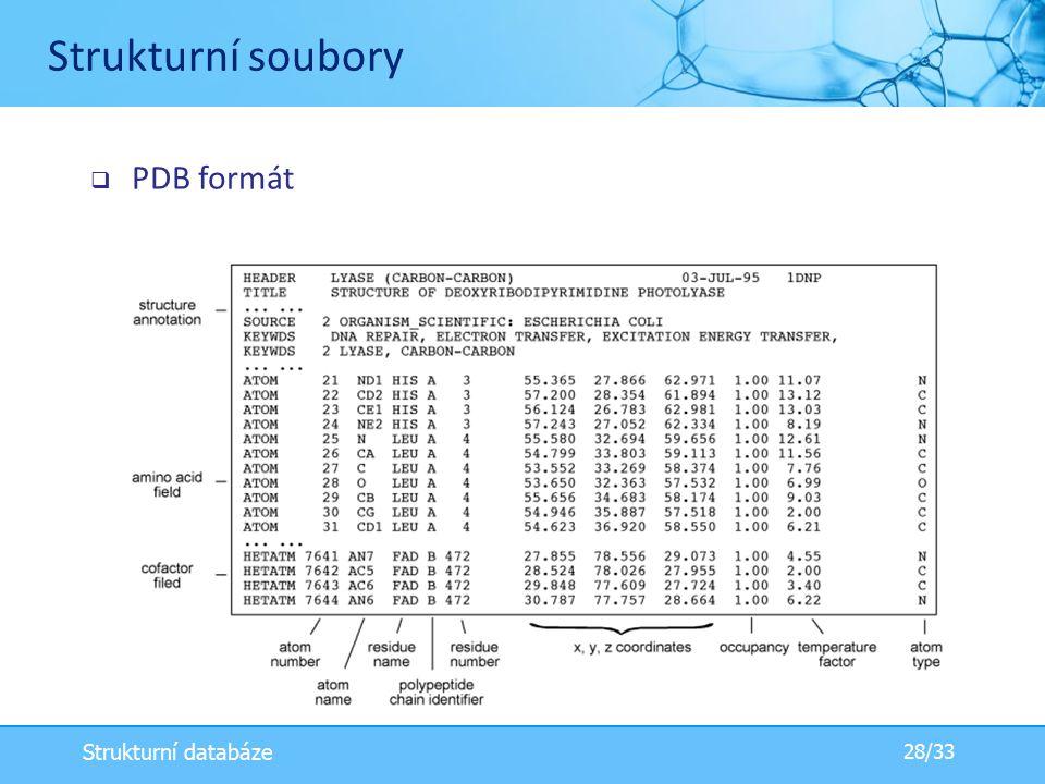Strukturní soubory PDB formát Strukturní databáze