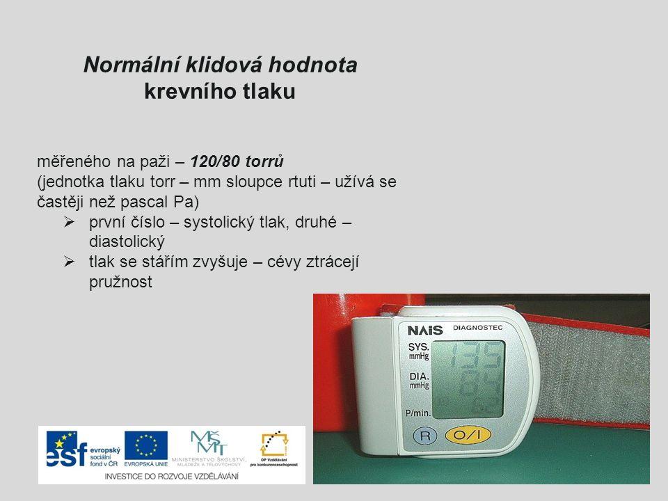 Normální klidová hodnota krevního tlaku