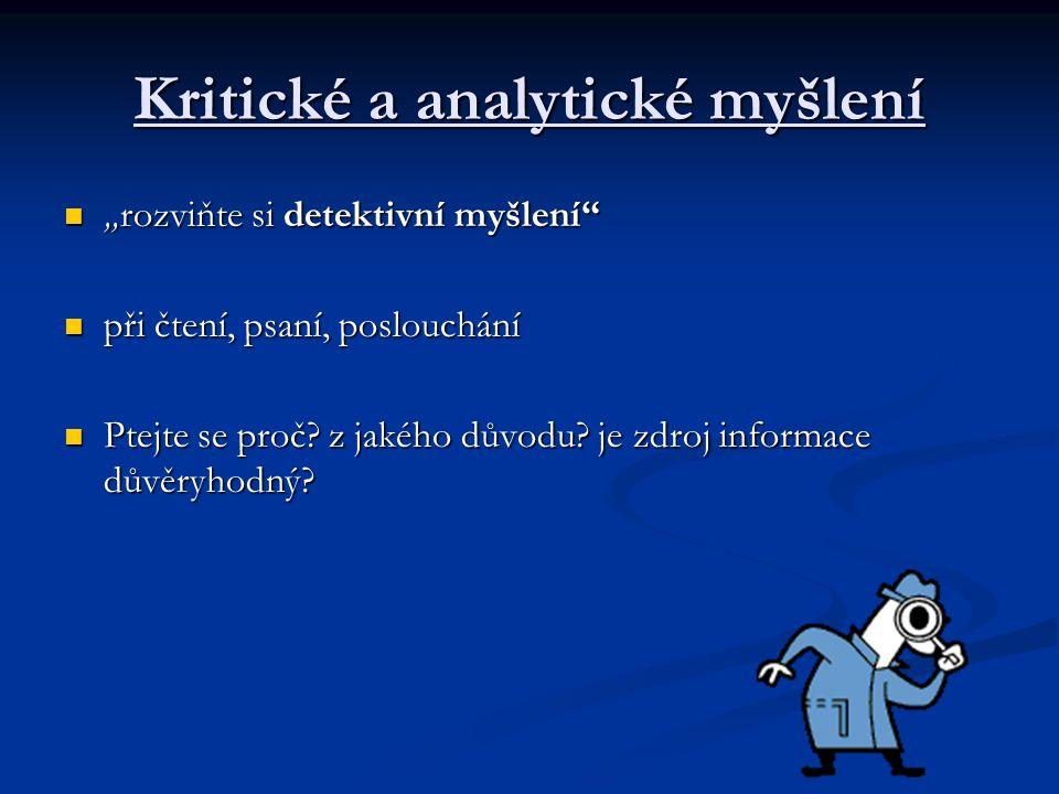 Kritické a analytické myšlení