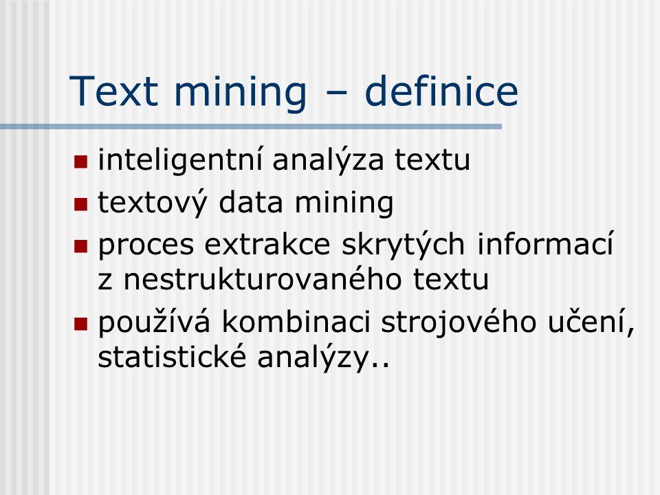 Text mining – definice inteligentní analýza textu textový data mining