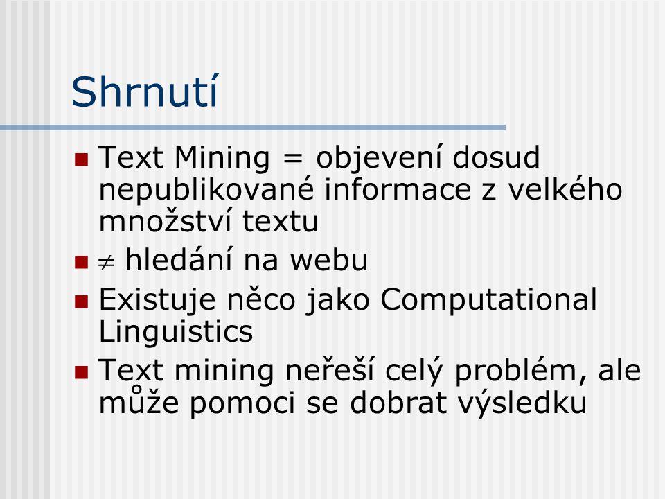 Shrnutí Text Mining = objevení dosud nepublikované informace z velkého množství textu.  hledání na webu.