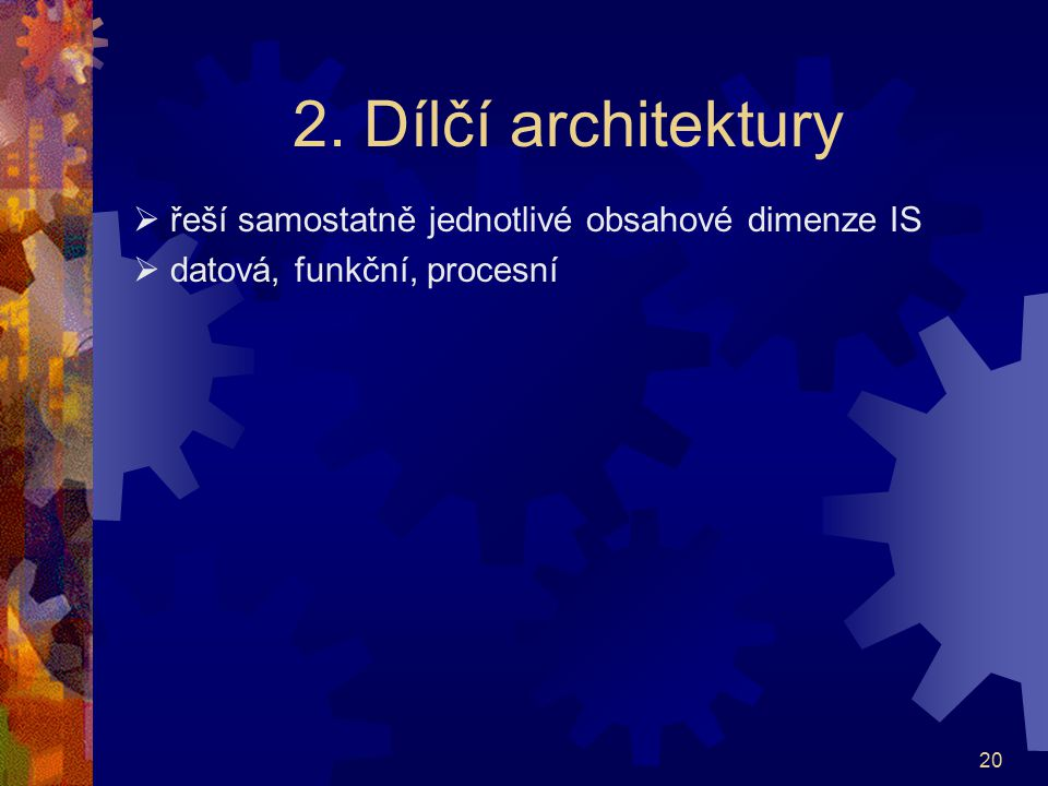 2. Dílčí architektury  řeší samostatně jednotlivé obsahové dimenze IS