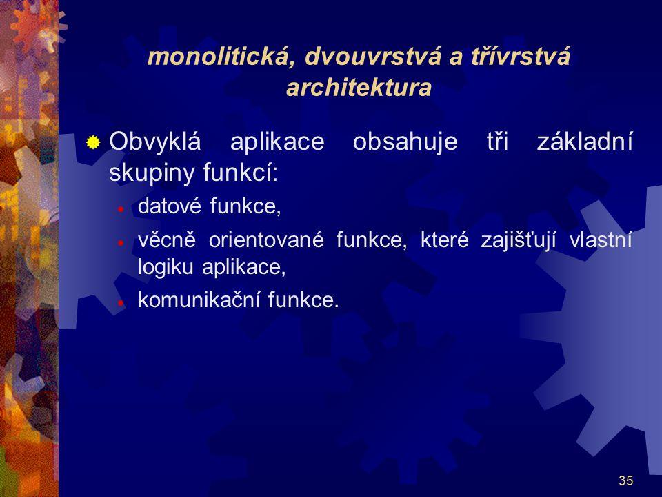 monolitická, dvouvrstvá a třívrstvá architektura