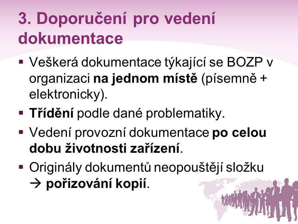 3. Doporučení pro vedení dokumentace