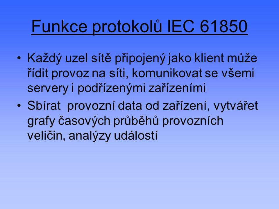 Funkce protokolů IEC 61850 Každý uzel sítě připojený jako klient může řídit provoz na síti, komunikovat se všemi servery i podřízenými zařízeními.