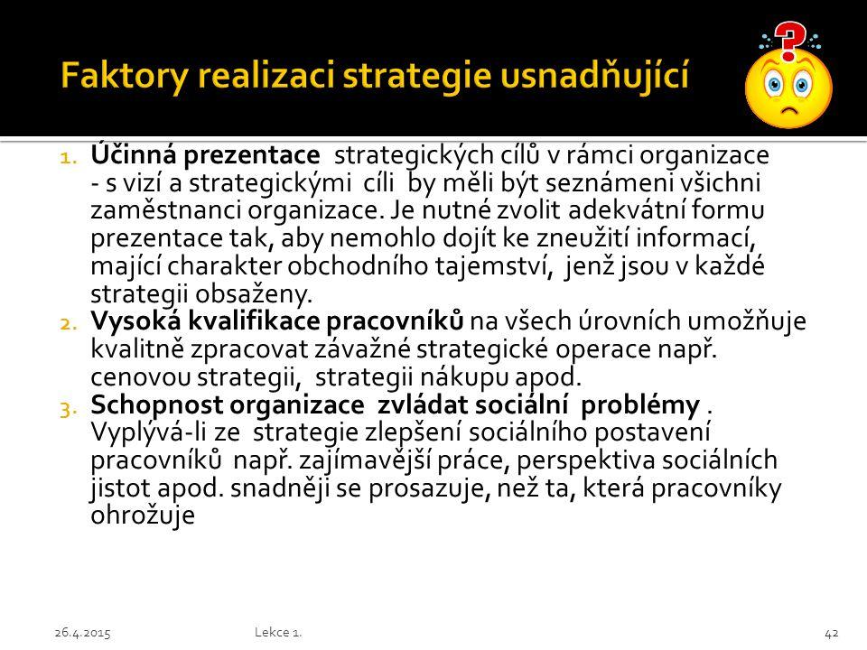 Faktory realizaci strategie usnadňující