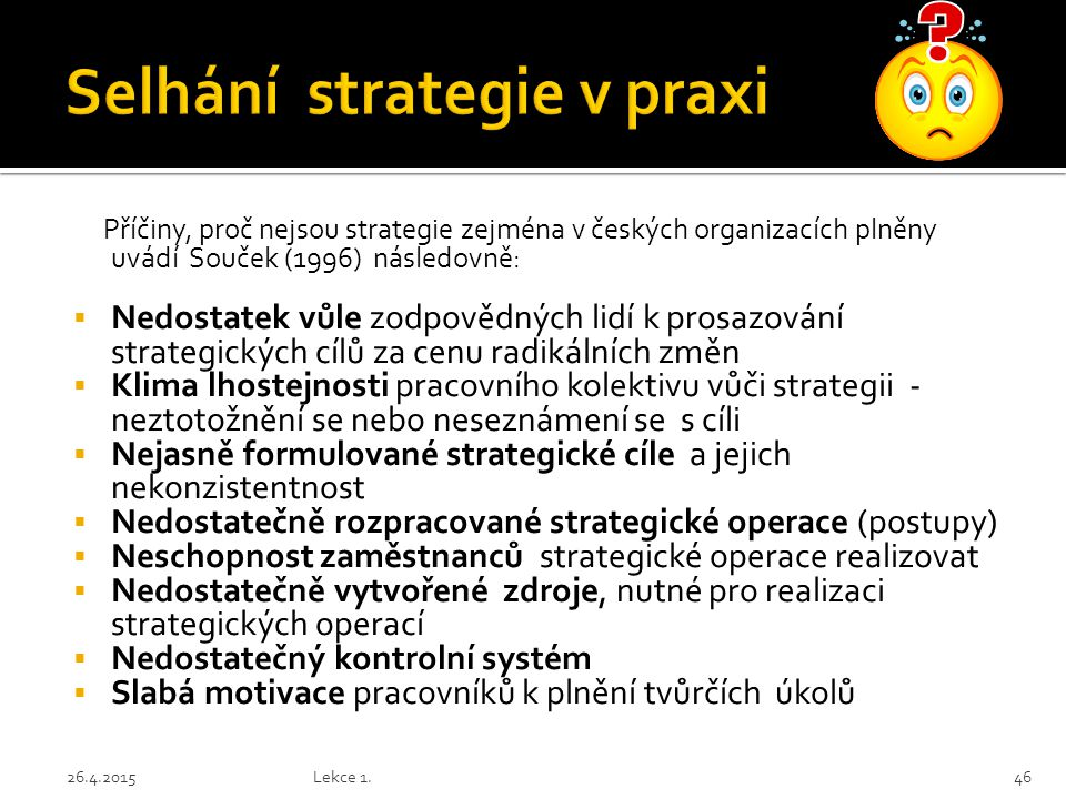 Selhání strategie v praxi