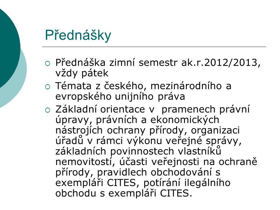 Přednášky Přednáška zimní semestr ak.r.2012/2013, vždy pátek