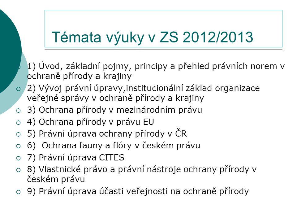 Témata výuky v ZS 2012/2013 1) Úvod, základní pojmy, principy a přehled právních norem v ochraně přírody a krajiny.