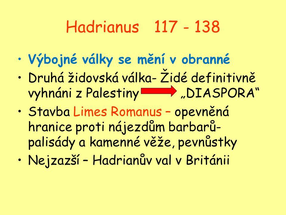 Hadrianus 117 - 138 Výbojné války se mění v obranné