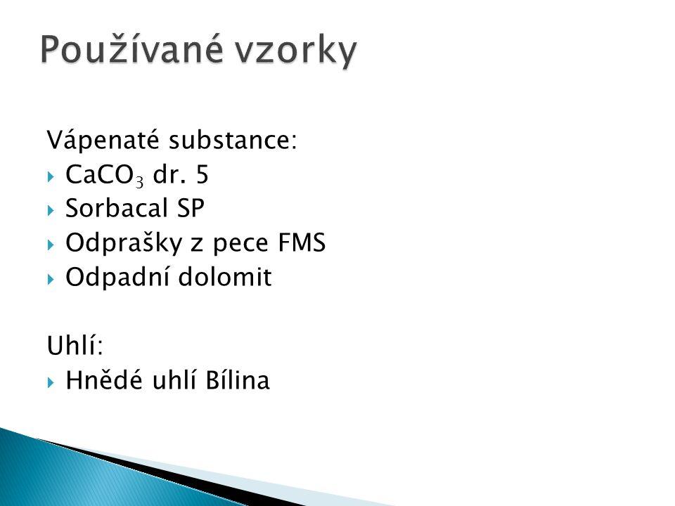 Používané vzorky Uhlí: Vápenaté substance: CaCO3 dr. 5 Sorbacal SP