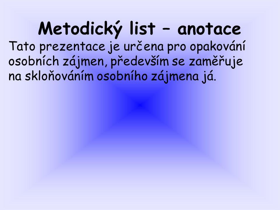 Metodický list – anotace