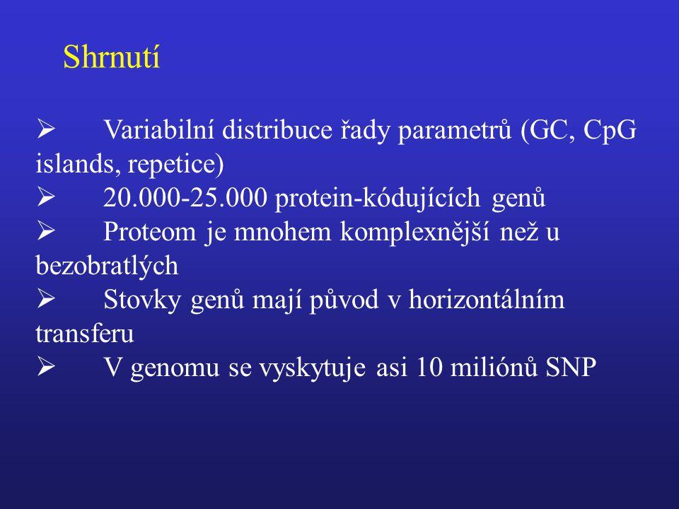 Shrnutí Variabilní distribuce řady parametrů (GC, CpG islands, repetice) 20.000-25.000 protein-kódujících genů.