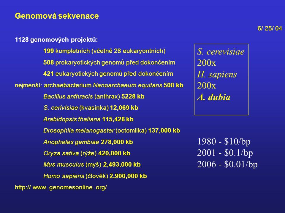 S. cerevisiae 200x H. sapiens A. dubia 1980 - $10/bp 2001 - $0.1/bp