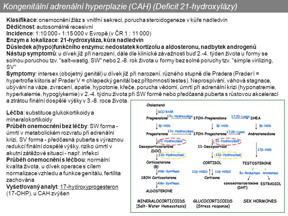 Kongenitální adrenální hyperplazie (CAH) (Deficit 21-hydroxylázy)