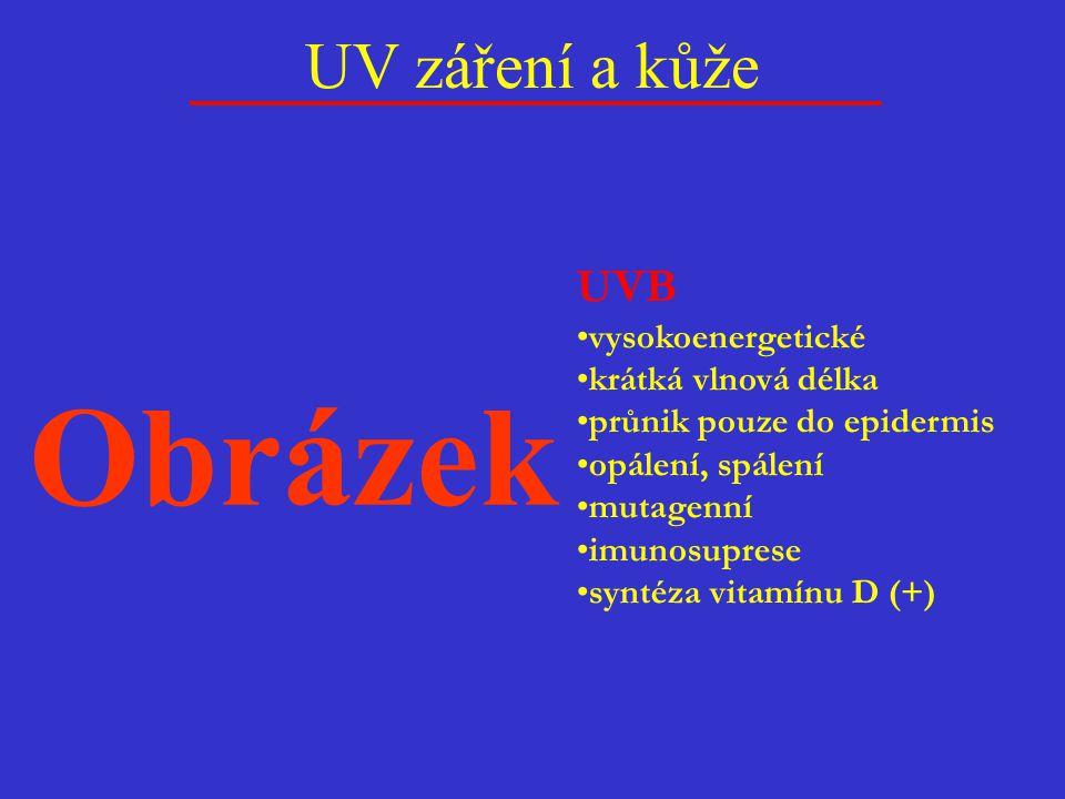 Obrázek UV záření a kůže UVB vysokoenergetické krátká vlnová délka