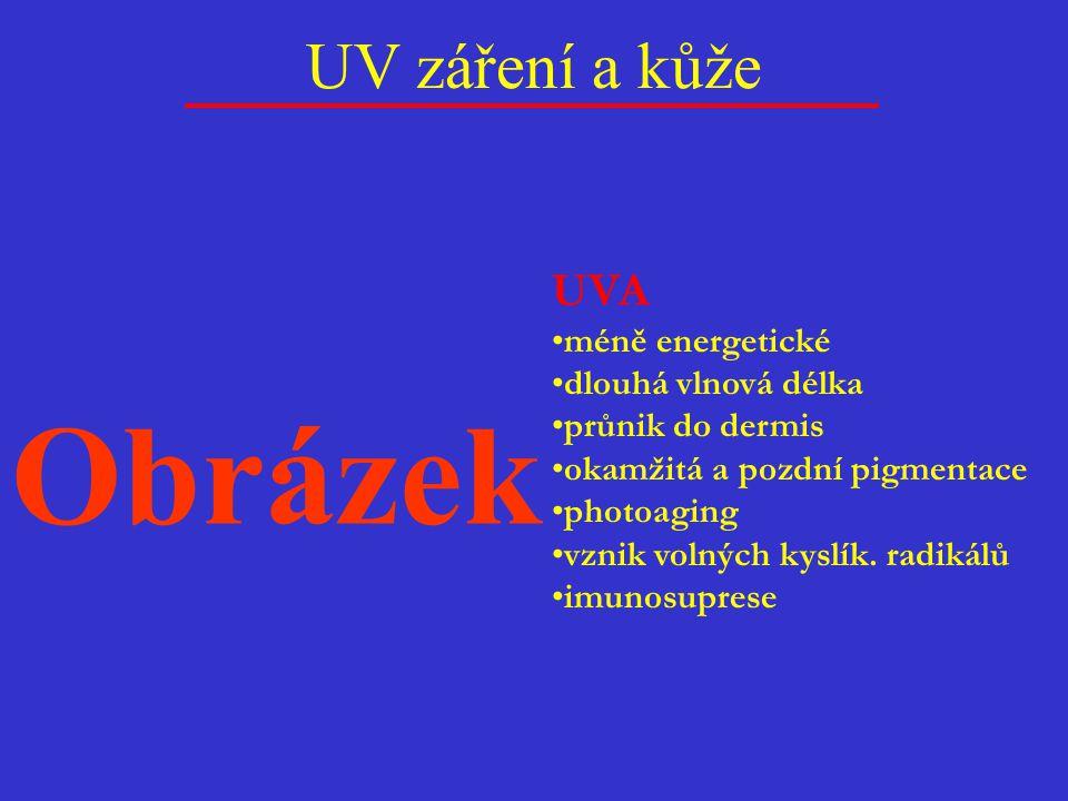 Obrázek UV záření a kůže UVA méně energetické dlouhá vlnová délka