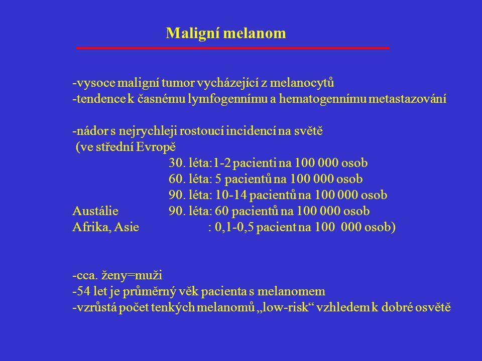 Maligní melanom -vysoce maligní tumor vycházející z melanocytů