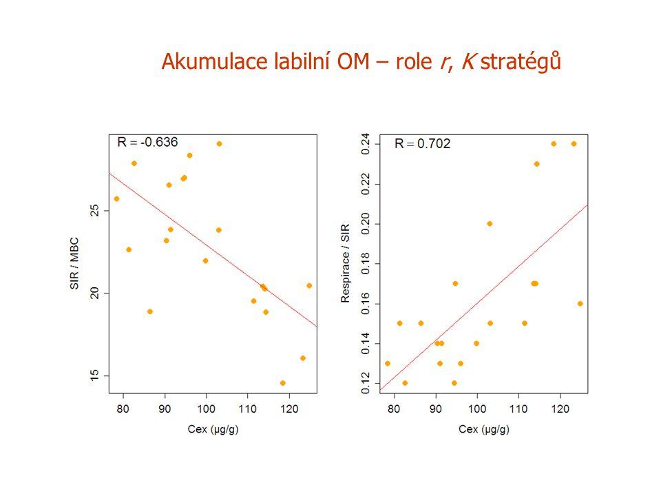 Akumulace labilní OM – role r, K stratégů