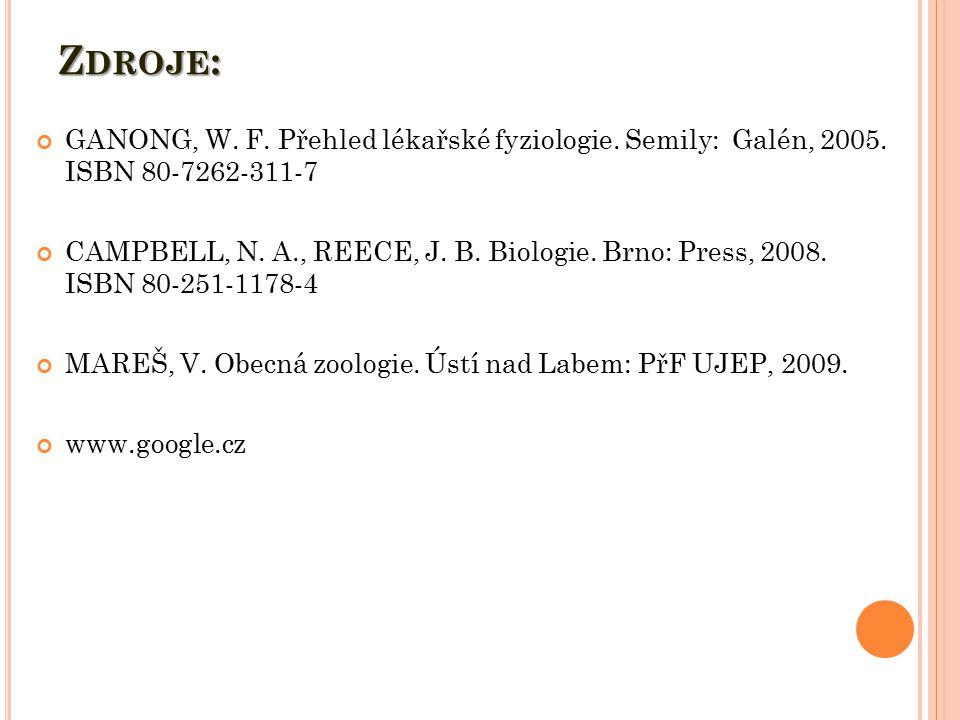 Zdroje: GANONG, W. F. Přehled lékařské fyziologie. Semily: Galén, 2005. ISBN 80-7262-311-7.