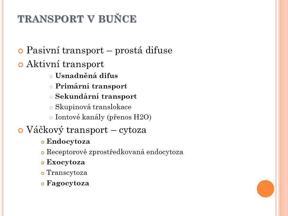 transport v buňce Pasivní transport – prostá difuse Aktivní transport