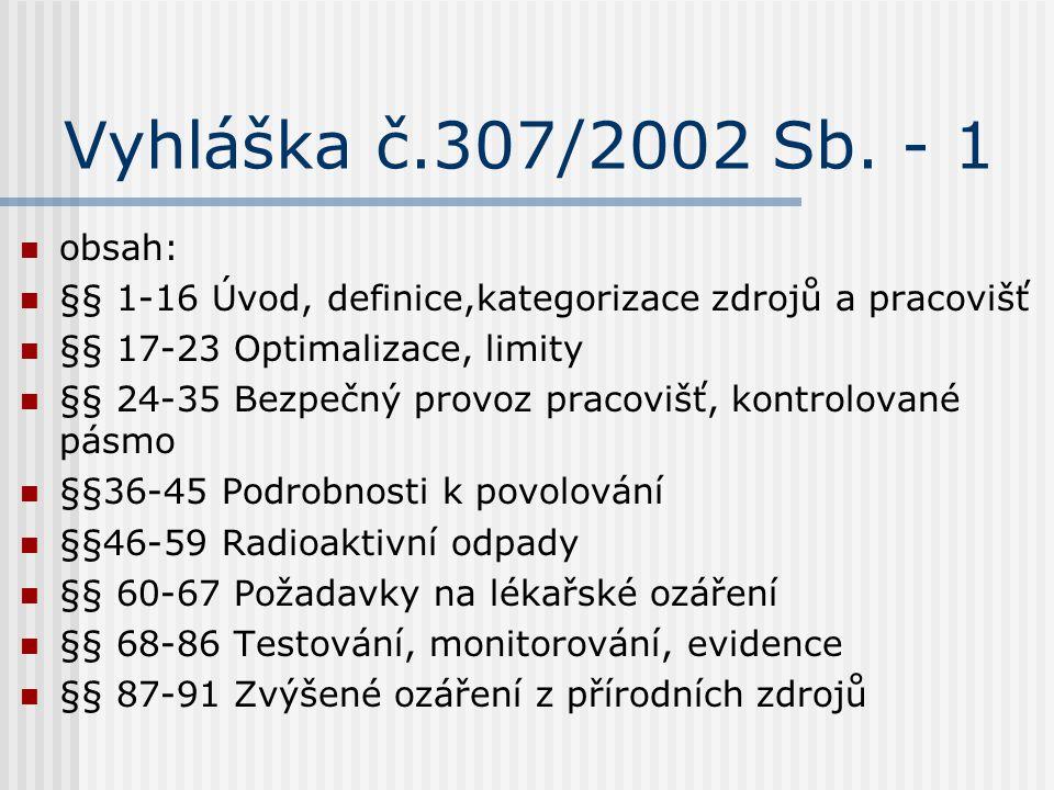 Vyhláška č.307/2002 Sb. - 1 obsah: §§ 1-16 Úvod, definice,kategorizace zdrojů a pracovišť. §§ 17-23 Optimalizace, limity.