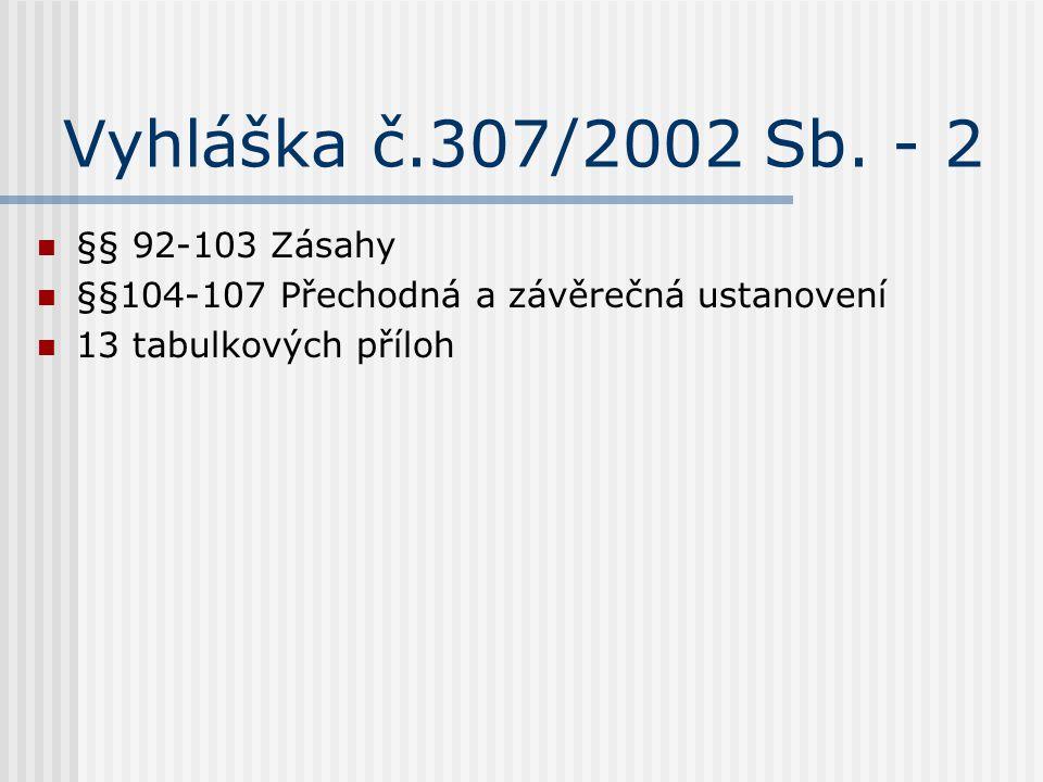 Vyhláška č.307/2002 Sb. - 2 §§ 92-103 Zásahy