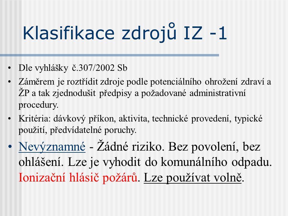 Klasifikace zdrojů IZ -1