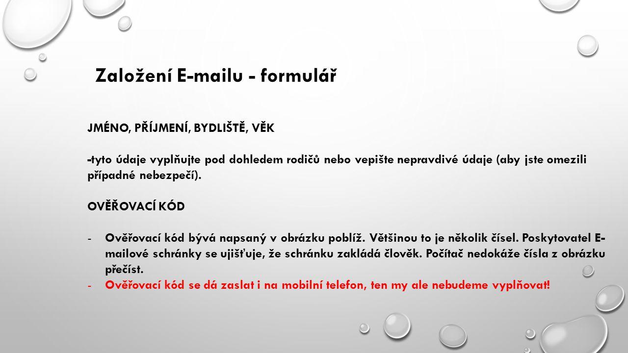 Založení E-mailu - formulář