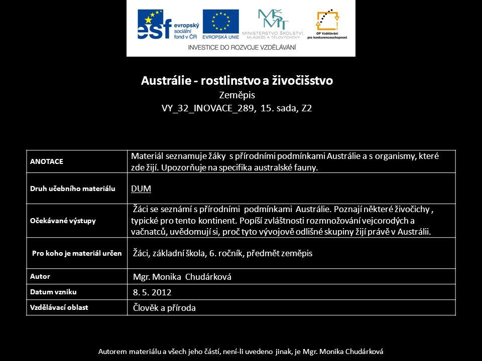 Austrálie - rostlinstvo a živočišstvo