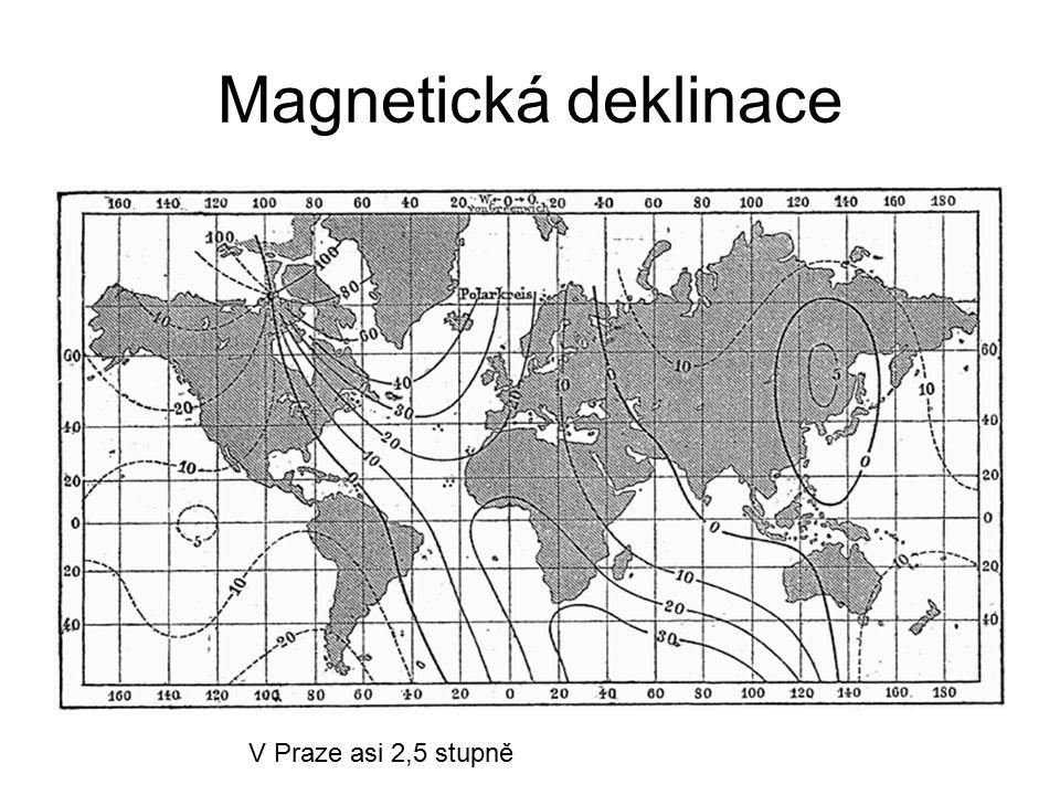 Magnetická deklinace V Praze asi 2,5 stupně