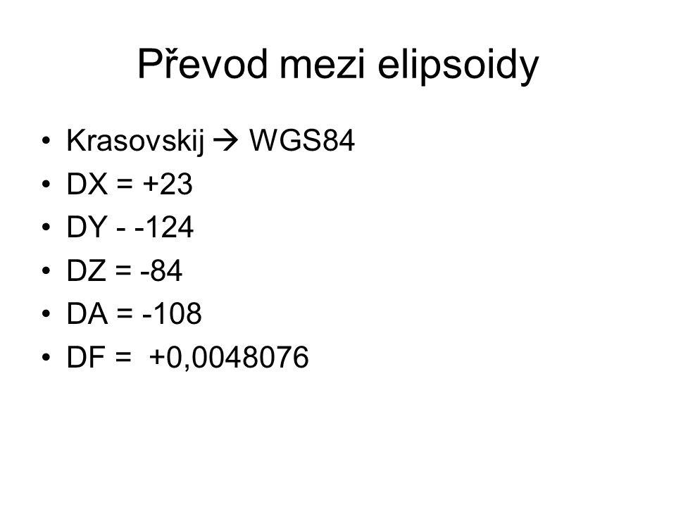 Převod mezi elipsoidy Krasovskij  WGS84 DX = +23 DY - -124 DZ = -84