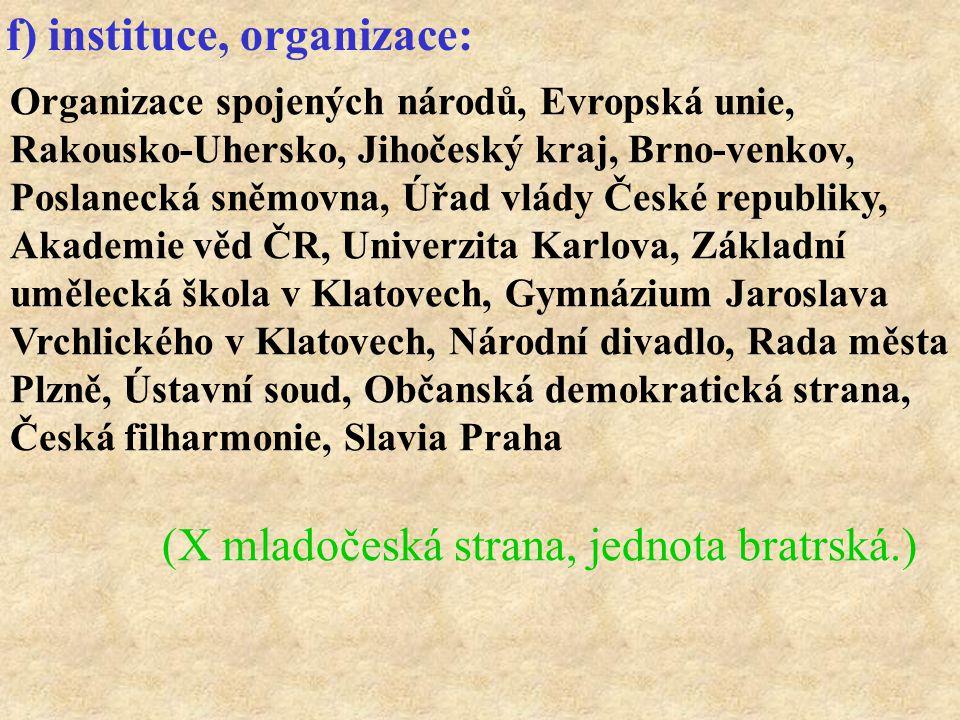 f) instituce, organizace: