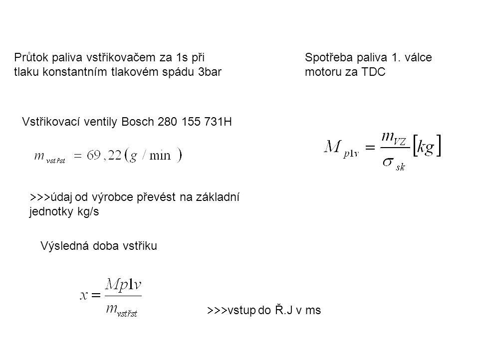 Průtok paliva vstřikovačem za 1s při tlaku konstantním tlakovém spádu 3bar