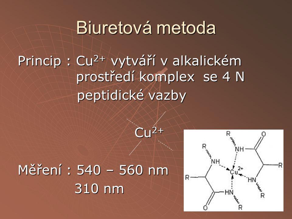 Biuretová metoda Princip : Cu2+ vytváří v alkalickém prostředí komplex se 4 N peptidické vazby Cu2+ Měření : 540 – 560 nm 310 nm